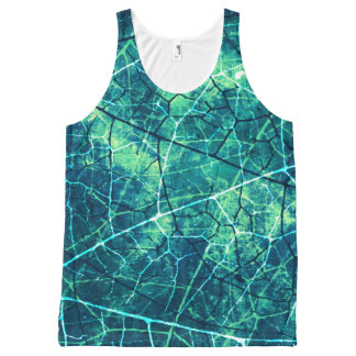 Aqua Marine Crackle Lacquer Grunge Texture All-Over Print Tank Top