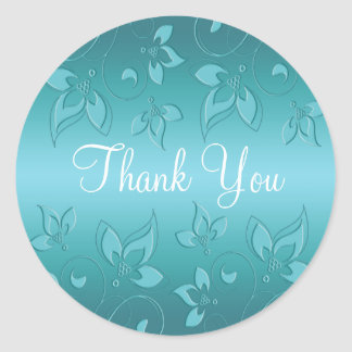 "Aqua-marine Floral 1.5"" Thank You Sticker"