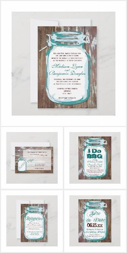 Aqua Mason Jar Barn Wood Wedding Invite Set