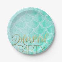 Aqua Mermaid Party | Under The Sea Birthday Paper Plate