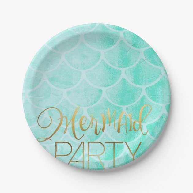Aqua Mermaid Party | Under The Sea Birthday Paper Plate Zazzle.com