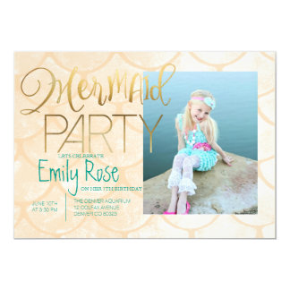 Aqua Mermaid Party | Under The Sea Birthday Photo Card