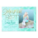 Aqua Mermaid Party | Under The Sea Birthday Photo Card