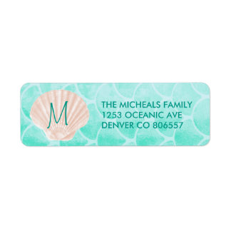 Aqua Mermaid Scales | Seashell Custom Address Label