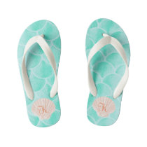 Aqua Mermaid Scales | Seashell Custom Initial Kid's Flip Flops