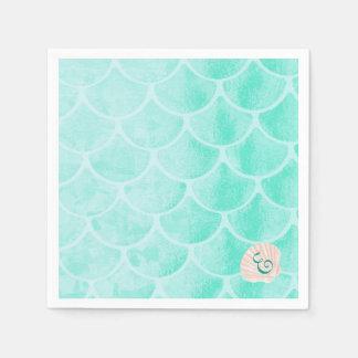 Aqua Mermaid Scales | Seashell | Custom Initial Paper Napkin