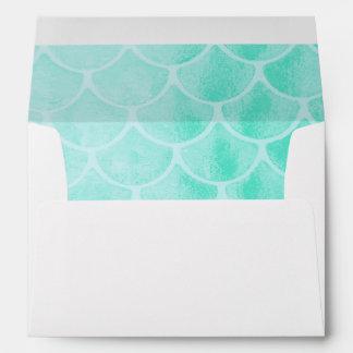 Aqua Mermaid Scales | Seashell Envelope