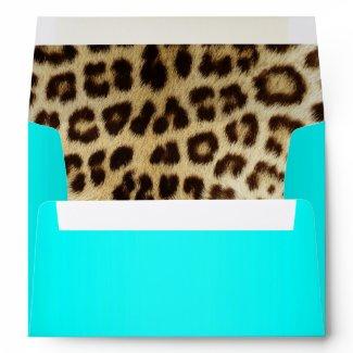 Aqua Metallic Leopard Fur Lined Envelope envelope