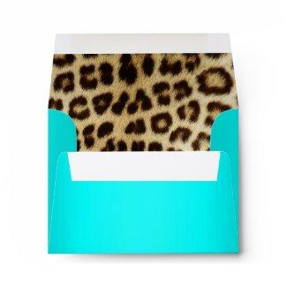 Aqua Metallic Leopard Fur Lined NoteCard envelope