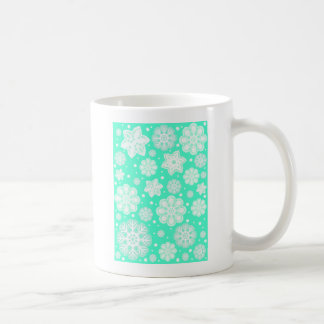 Aqua Mint Christmas Snowflake Pattern Coffee Mugs