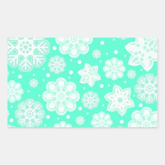 Aqua Mint Christmas Snowflake Pattern Rectangular Sticker