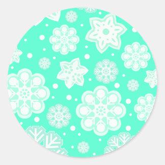 Aqua Mint Christmas Snowflake Pattern Classic Round Sticker