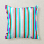 [ Thumbnail: Aqua, Mint Cream, Dark Violet, Light Pink & Brown Throw Pillow ]