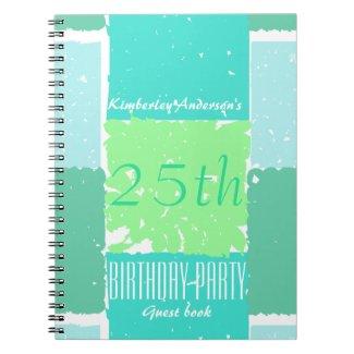 Aqua Mint Green Colors 25th birthday Guest Book Notebook