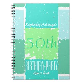 Aqua Mint Green Colors 50th birthday Guest Book