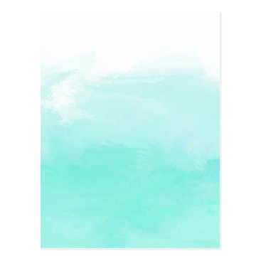Beach Themed Aqua mint green watercolor brush strokes postcard