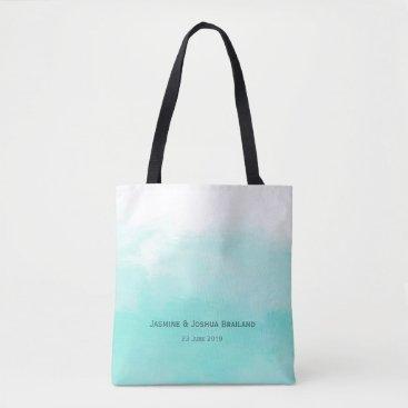 Beach Themed Aqua mint green watercolor brush strokes tote bag