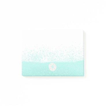 Beach Themed Aqua mint green watercolor splats sanddollar post-it notes