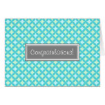 Aqua Mint Pattern Congratulations on Expecting Greeting Cards