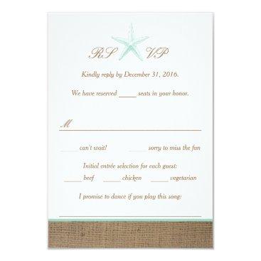 Beach Themed Aqua Mint Starfish Burlap Beach Wedding RSVP Cards