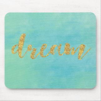 Aqua Mint Watercolor Gold Dream Mouse Pad