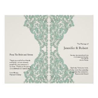 Aqua Mocha Vintage Silhouette Wedding Program Full Color Flyer