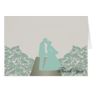 Aqua Mocha Vintage Silhouette Wedding Thank You Card