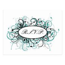 aqua mod Wedding rsvp card