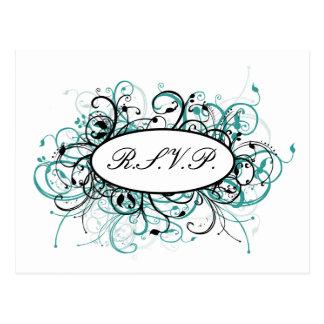 aqua mod Wedding rsvp card Postcard