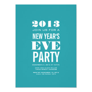 Aqua Modern 2013 New Year's Eve Party Invitation