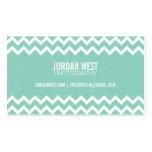 Aqua Modern Chevron Stripes with Linen Texture Business Card Templates
