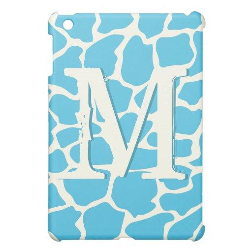 Aqua Modern Giraffe Pattern Monogam iPad Mini iPad Mini Covers
