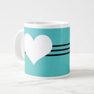 Aqua Modern Heart Jumbo Mug