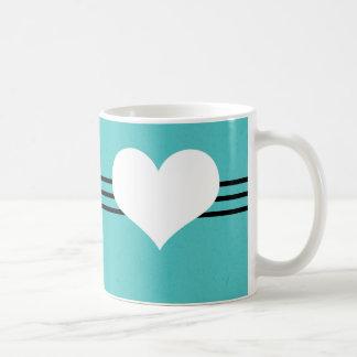 Aqua Modern Heart Mug