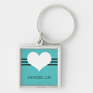 Aqua Modern Heart Premium Keychain