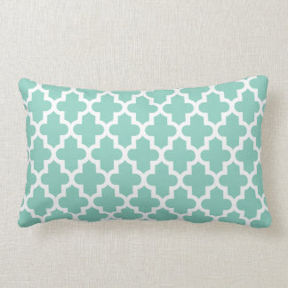 Aqua Modern Moroccan Pattern Throw Pillow