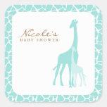 Aqua Mom and Baby Giraffes Square Sticker