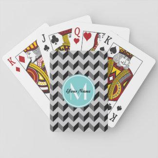 Aqua Monogram Black and Gray Chevron Pattern Poker Cards