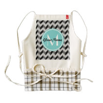Aqua Monogram Black and Gray Chevron Pattern Zazzle HEART Apron
