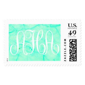 aqua monogram - Customized Stamp