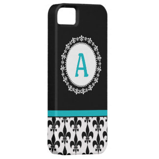 Aqua Monogram Fleur de Lis iPhone 5 Casemate Case iPhone 5 Cases
