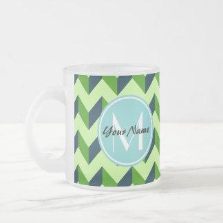 Aqua Monogram Green Chevron Patchwork Pattern Frosted Glass Coffee Mug