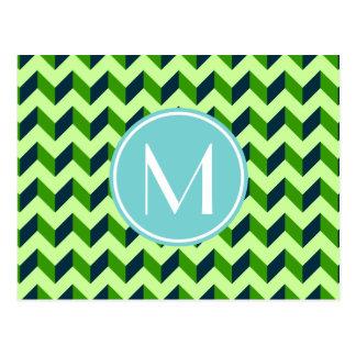 Aqua Monogram Green Chevron Patchwork Pattern Postcard