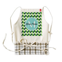Aqua Monogram Green Chevron Patchwork Pattern Zazzle HEART Apron