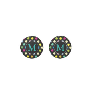 Aqua Monogram   Irregular Dots Pattern Earrings