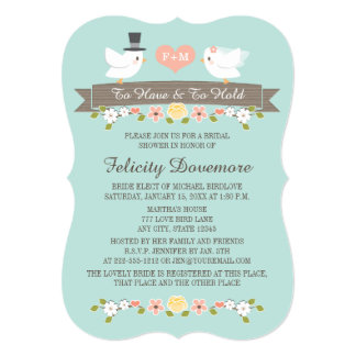 Aqua Monogram Love Birds Bridal Shower Invitation