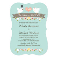 Aqua Monogram Love Birds Dove Wedding Invitation