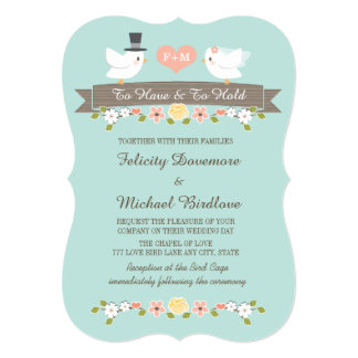 Aqua Monogram Love Birds Dove Wedding Invitation