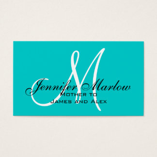 Aqua Monogram Mommy Calling Card