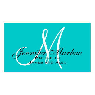 Aqua Monogram Mommy Calling Card Double-Sided Standard Business Cards (Pack Of 100)